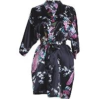2ddbfe4e35 Elite99 Women s Sexy Robes Peacock and Blossoms Kimono Satin Nightwear Mini  Dress