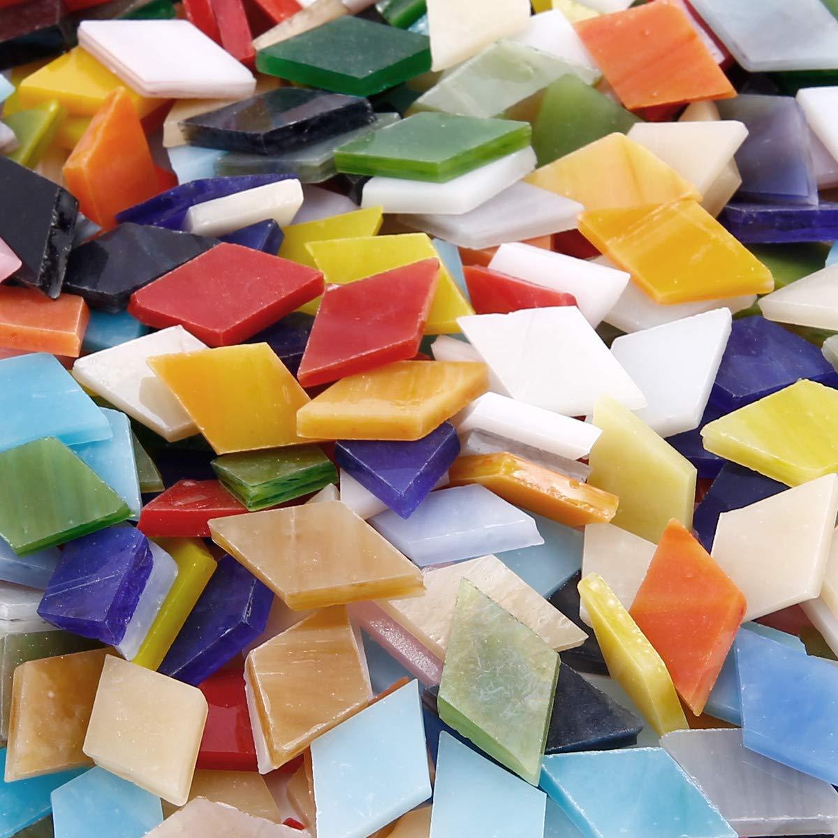 mit Aufbewahrungsbox 350 St Anladia 14mm Dreieck Mosaiksteine Mosaikfliesen Mosaik Bunt gemischt Basteln DIY Deko ca
