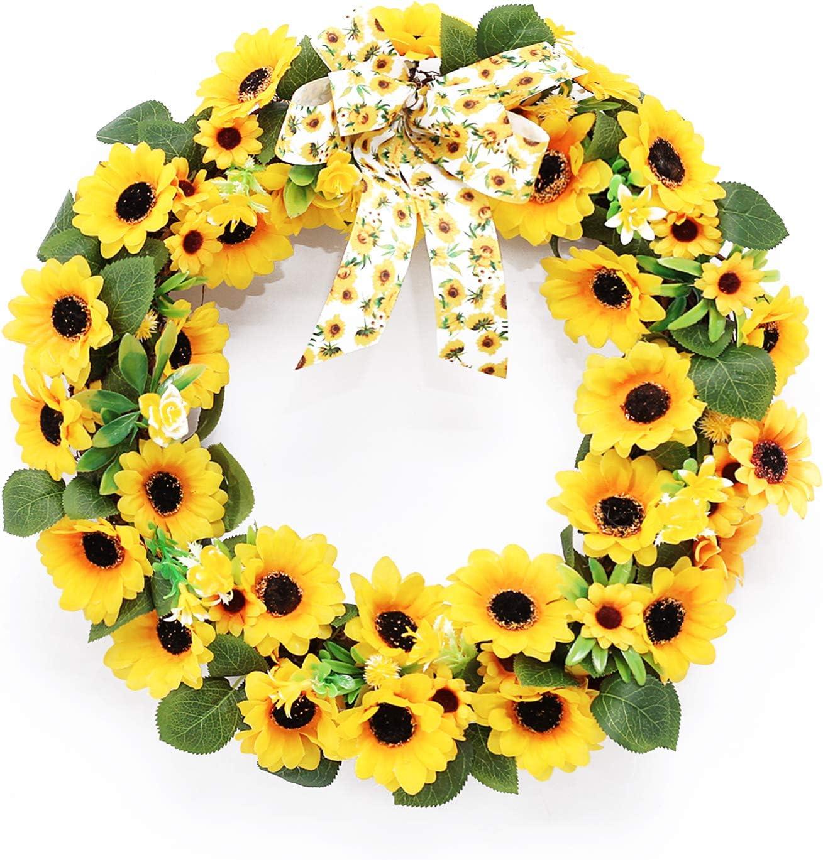 Super Holiday Sunflower Wreath, Front Door Summer Wreaths, Artificial Home Decor for Outdoor/ Indoor, Suitable for Window, Wall, Door, Bedroom, Living Room. (16Inch)