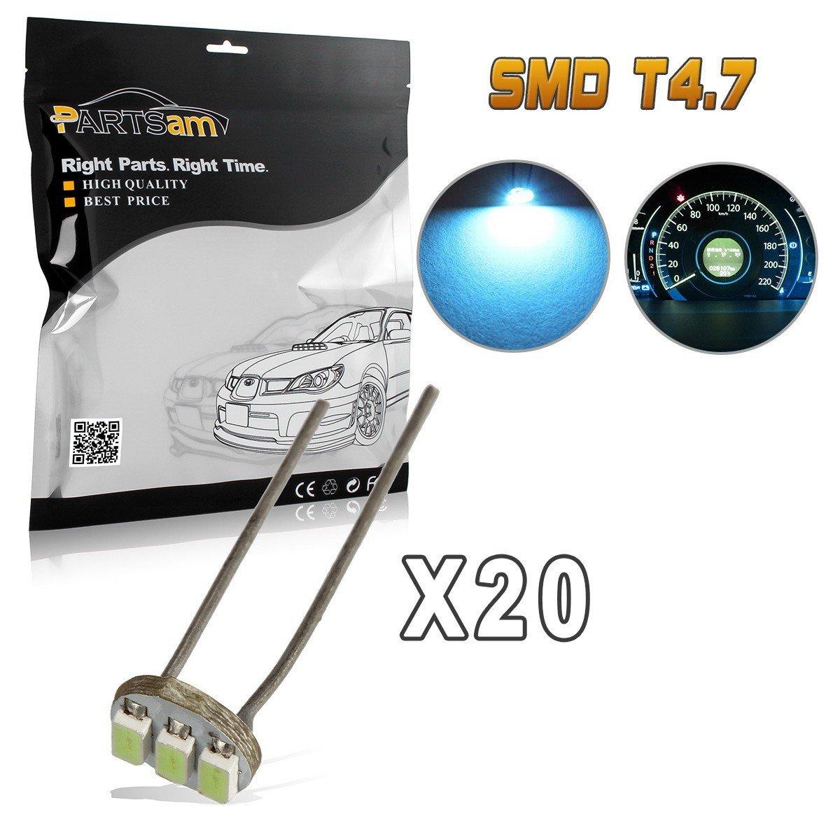 Partsam 20PCS 4.7mm Ice Blue Instrument Panel Gauge Cluster Speedometer Lamps Mini Bulbs Indicator for GM GMC