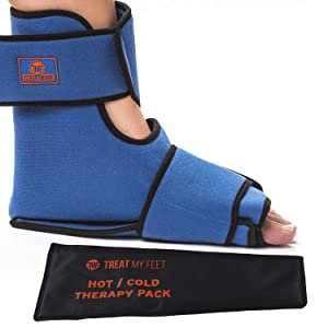 Foot & Ankle Pain Relief Hot/Cold Boot Foot Wrap - Effectively relieve foot and ankle aches & PAINS using compression gel wrap - Heated or Cooled, Extra Ice Pack Targets All Areas - FDA Registered