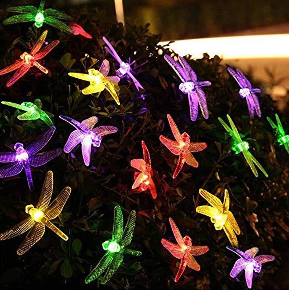 H+K+L 5m 20 LED Dragonfly Solar Powered Lighting Lamps Environment-Friendly Multicolor String Lights for Mothers Day, Home, Bedroom, Wedding, Holiday (Multicolor)