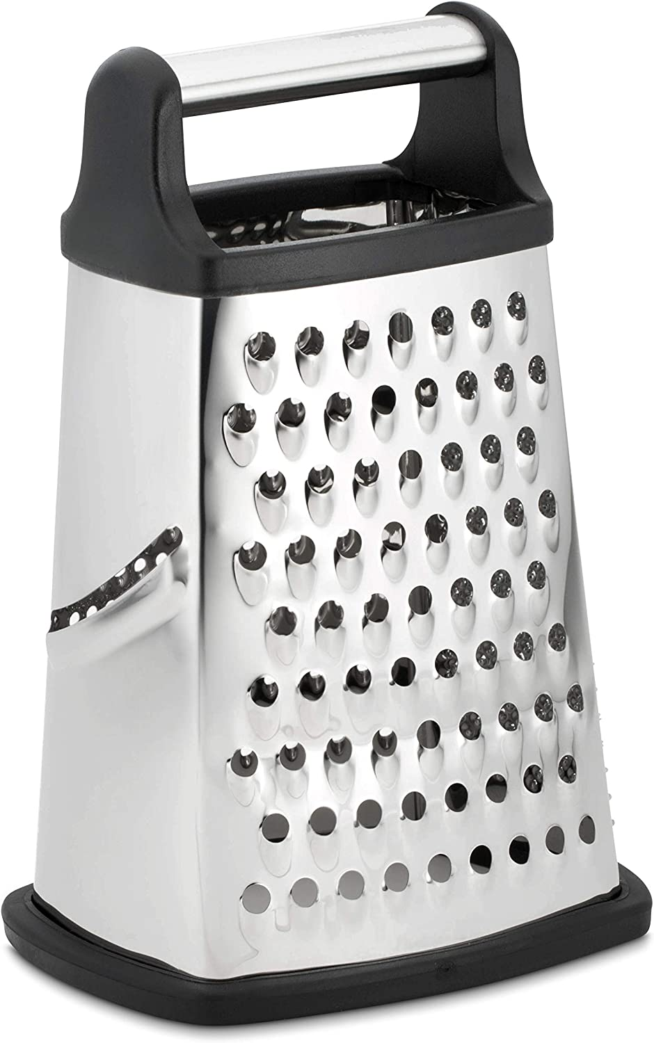 Professional Box Grater, Stainless Steel with 4 Sides, Best for Parmesan Cheese, Vegetables, Ginger, XL Size, Black