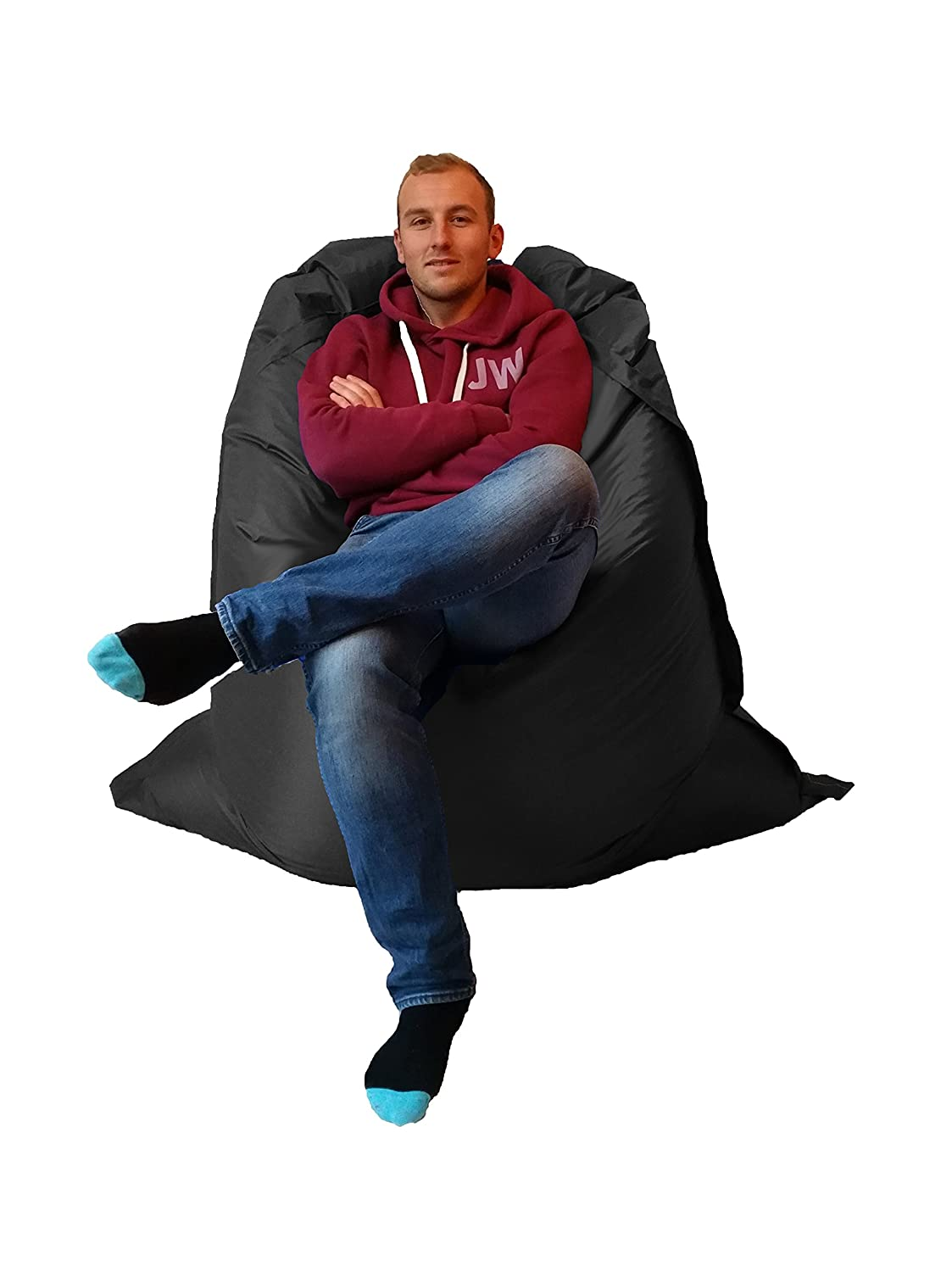 Extra Large Giant Beanbag Black - Indoor & Outdoor Bean Bag - MASSIVE 180x140cm - great for Garden Outside-In