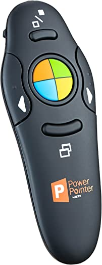 PowerPointer Wireless Presenter PPT Clicker Black, USB Control with Lazer Pointer, for Microsoft Power Point RF 2.4 GHz