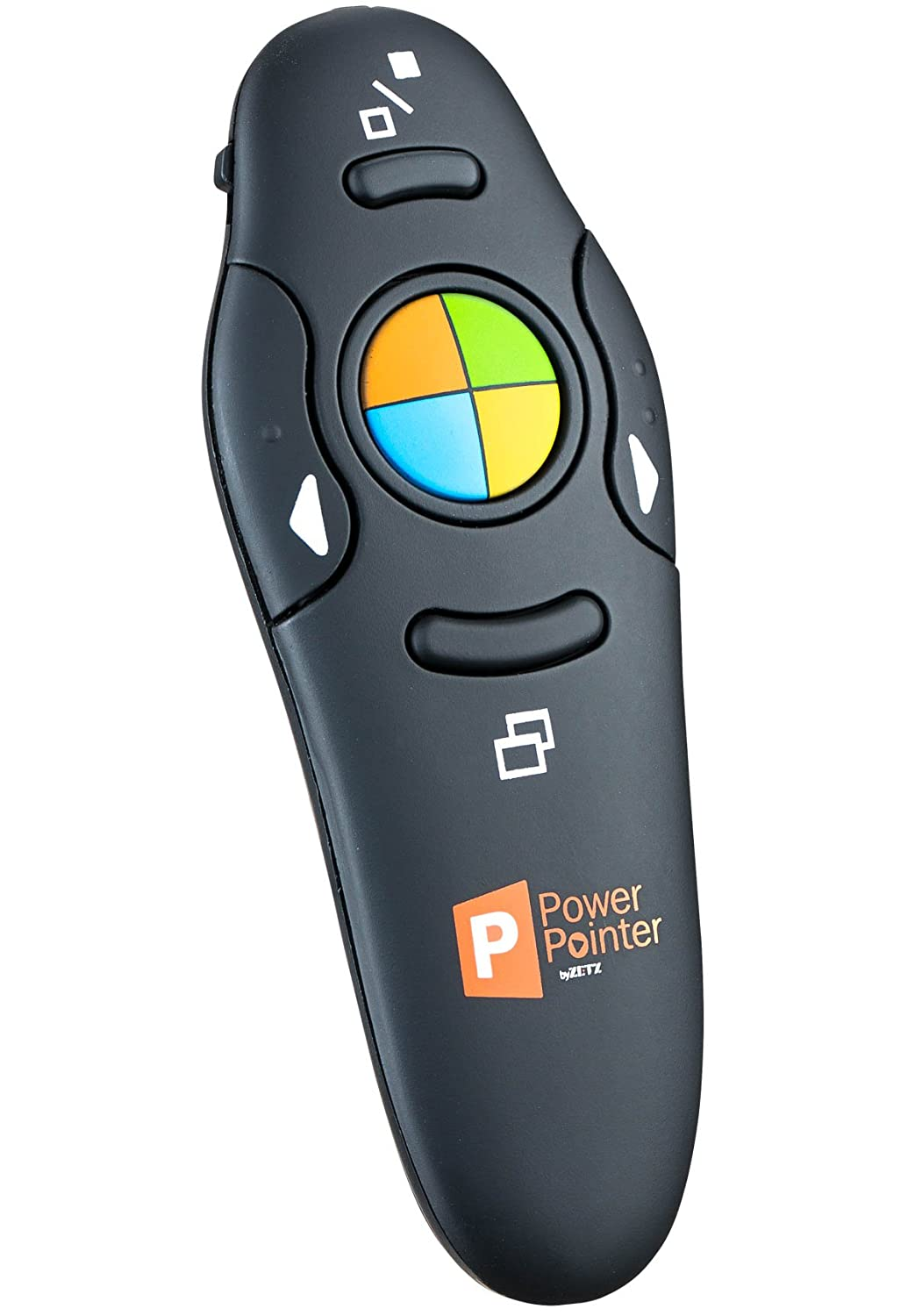 PowerPointer Wireless Presenter PPT Clicker Black, USB Control with Lazer Pointer, for Microsoft Power Point RF 2.4 GHz