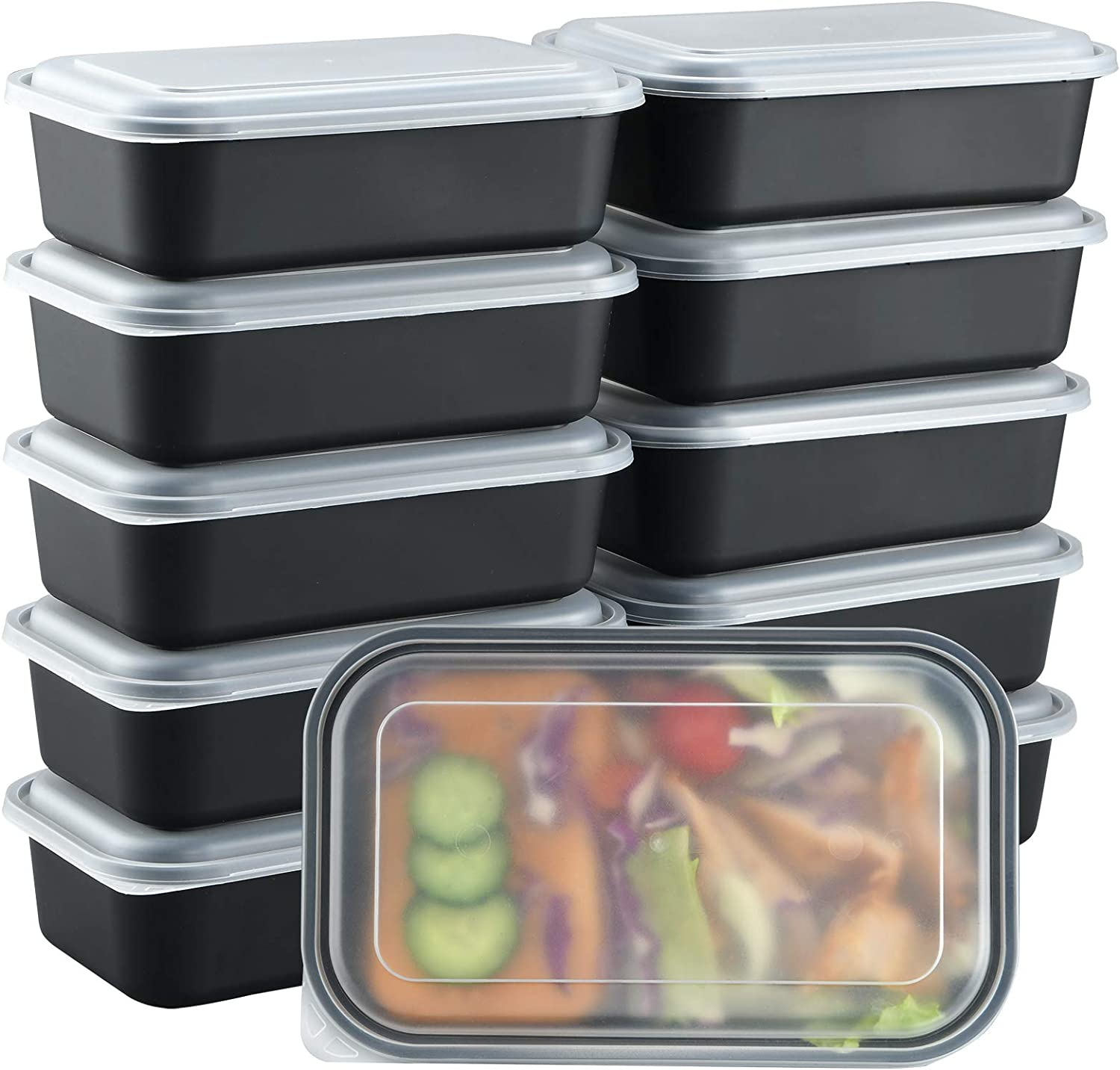 Plastic Meal Prep Containers, 32 oz, 10 PACK, Food Storage Disposable Containers with Lids Airtight, Togo Food Containers for Frozen Meal, Reusable Lunch Bento Box, Microwave and Freezer Safe
