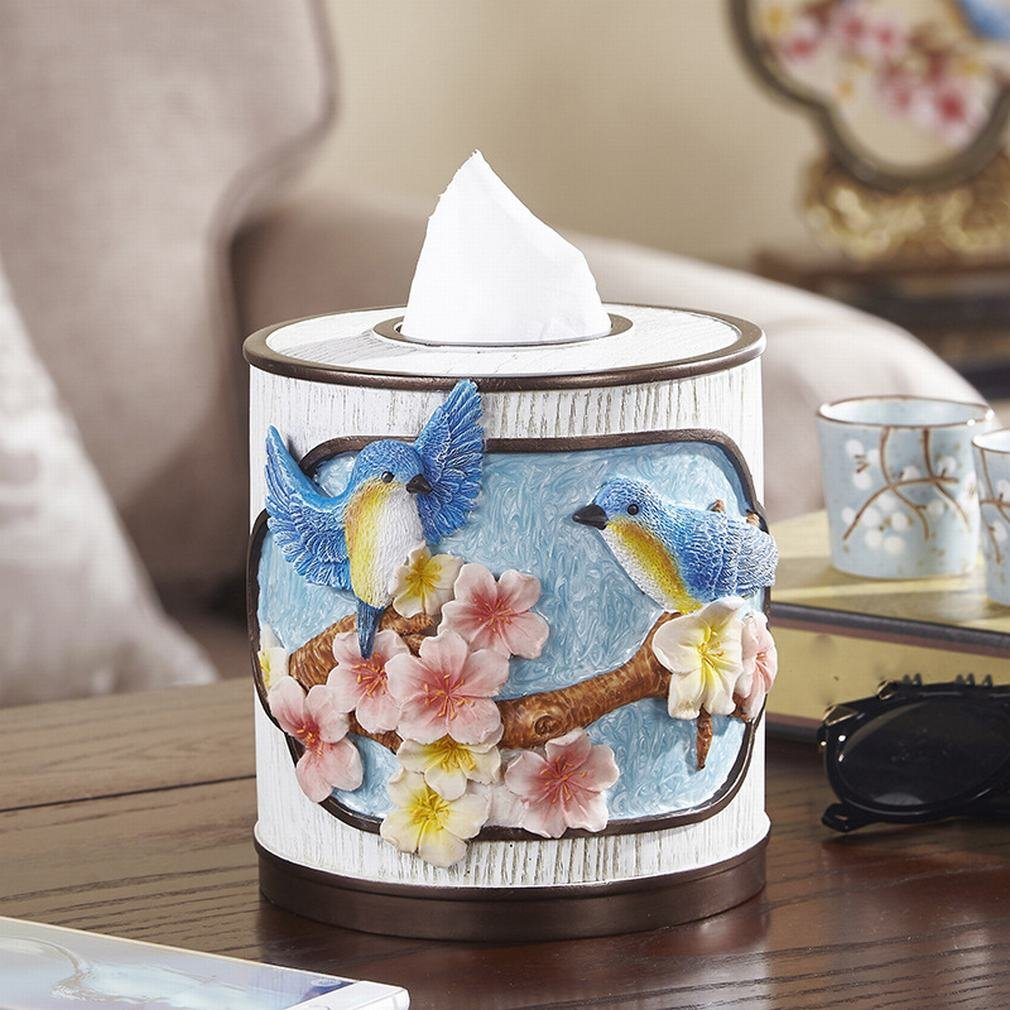 A LY Tissue Box Creative Round Resin Fashion Birds and Birds Book Box Restaurant Roll Paper Decoration
