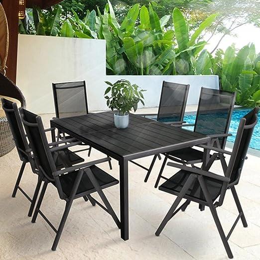 LD Jardín Muebles de jardín (Mobiliario de jardín Asiento Grupo Silla Plegable Mesa Aluminio: Amazon.es: Jardín