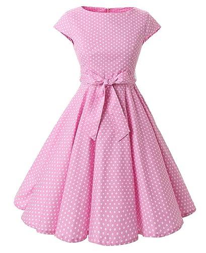 Ensnovo Womens Cap Sleeve 1950s Vintage Rockabilly Swing Cocktail Evening Dress