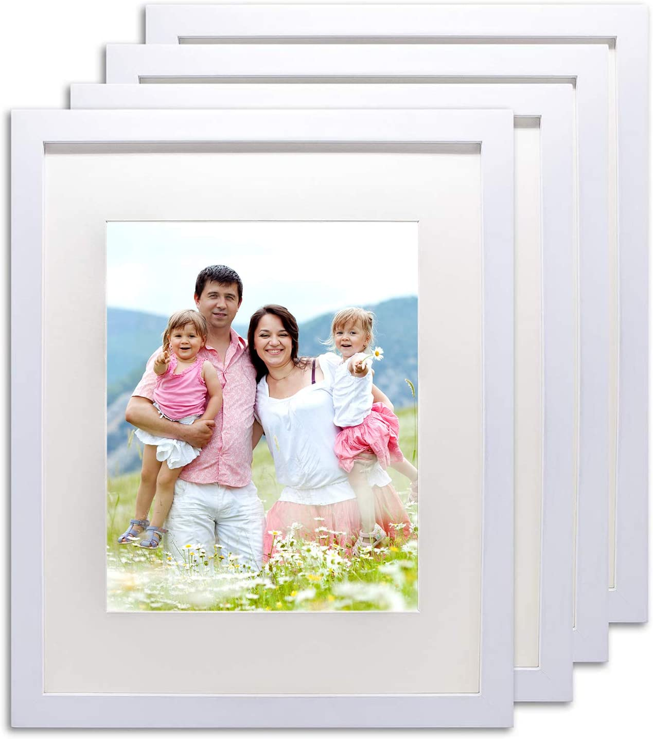 """The Display Guys~ 4 Sets 8x10 inch White Solid Pine Wood Photo Frame, Real Tempered Glass, Luxury Made Affordable, With White Core Mat Boards for 5""""x7"""" Picture + Collage Mat Board for 2-4""""x6"""" Picture (White)"""