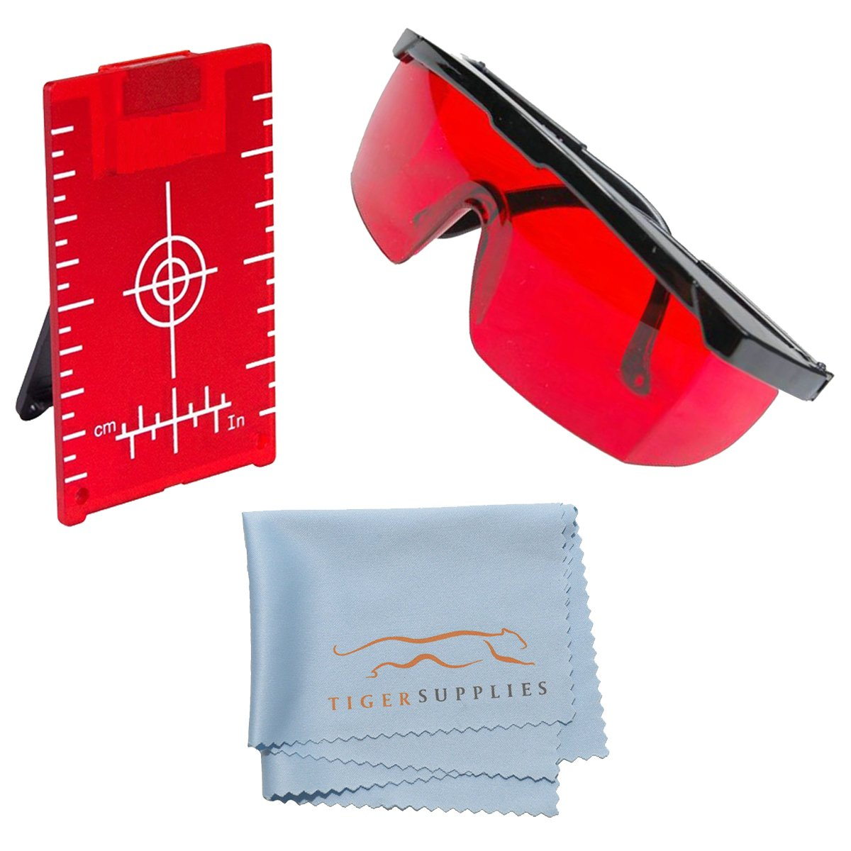 AdirPro Red Brite Laser Enhancement Kit, Includes: Red Laser Glasses for Distance Meters, Line Lasers and Rotary Lasers - Red Magnetic Floor Target Plate with Stand - Tiger Supplies Cleaning Cloth