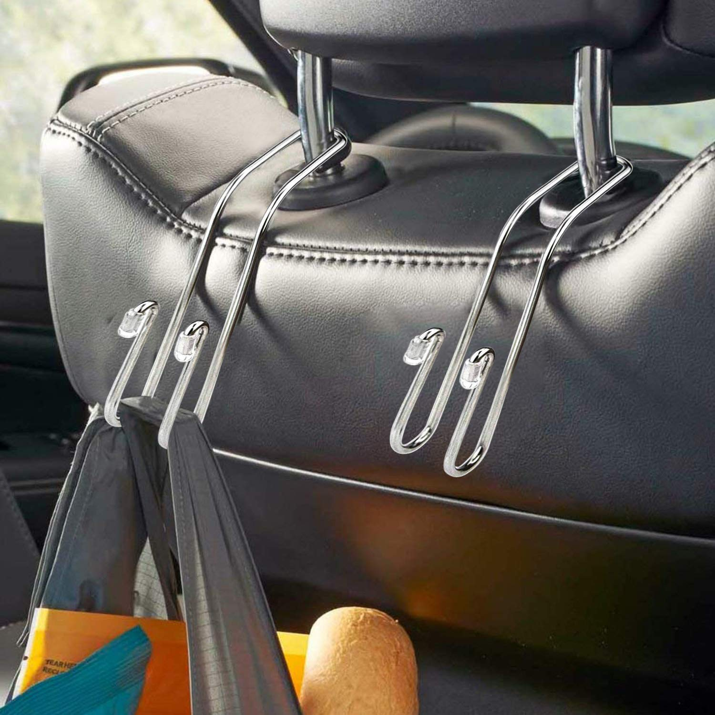 Fourcase 4 Pack Car Hooks,Auto Truck Vehicle Back Seat Headrest Hanger Holder Hooks for Bag Purse Cloth Handbag Coat Grocery