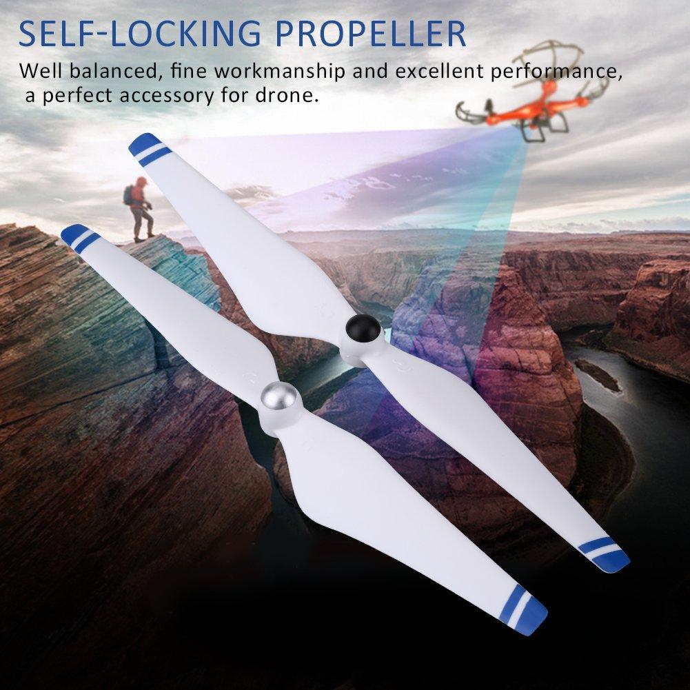 Drfeify H/élice Autoblocante 2 Colores 2 Pares 9450 CW CCW H/élices Accesorio de Palas Compatible para dji Phantom2 Blanco + Azul 3 Quadcopter