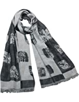 Chinese English Character Seal Stamps Cotton Long Scarf Shawl