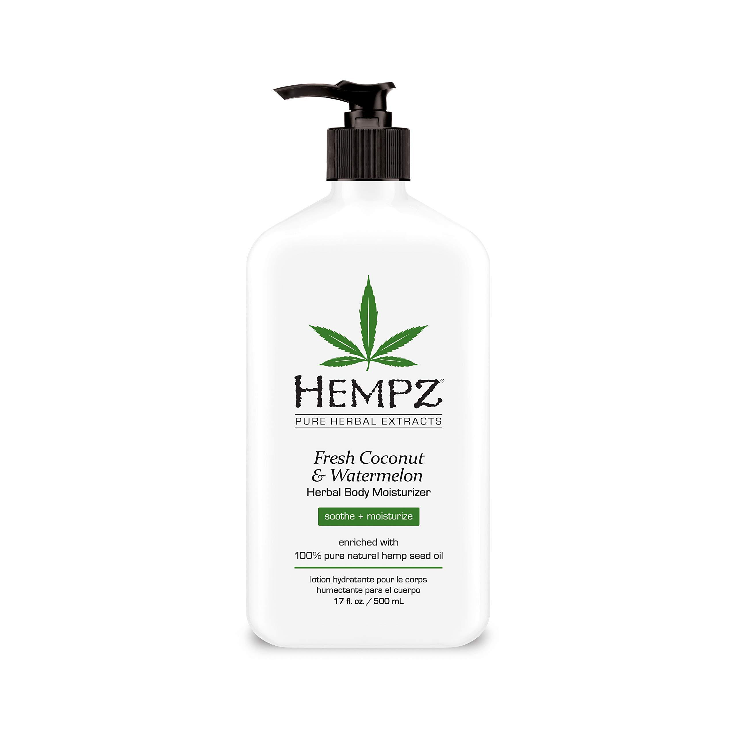 Hempz Natural Herbal Body Moisturizer: Fresh Coconut & Watermelon Moisturizing Skin Lotion, 17 Fl Oz by Hempz