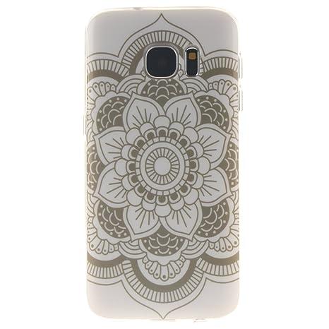 Ooboom® Samsung Galaxy S7 Funda TPU Silicona Gel Case Cover Carcasa Cubierta Ultra Delgado para Samsung Galaxy S7 - Tótem Flor Blanco