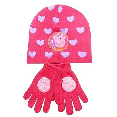 cea891290b0f5 Peppa Pig Winter Hat   Glove Set Kids Pink Beanie Age 4-10  Amazon.co.uk   Clothing