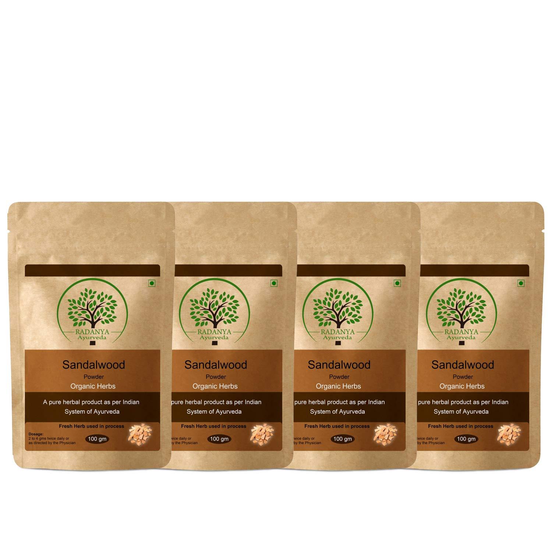 RADANYA Ayurveda Sadalwood Powder 100 Gram - Indian Pure Natural Essential Organic Herbal Supplement Powder - Pack of 4 by RADANYA Ayurveda