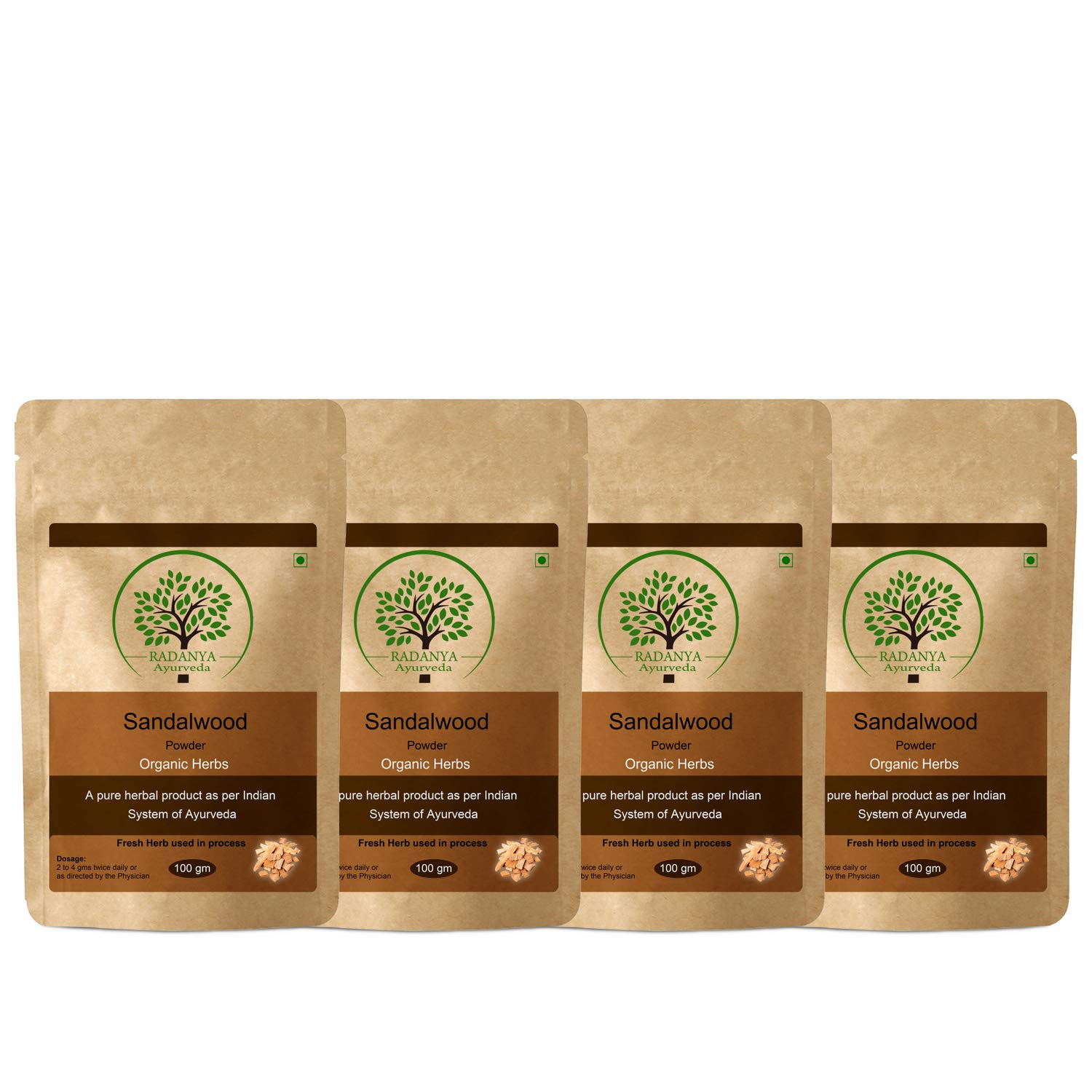 RADANYA Ayurveda Sadalwood Powder 100 Gram - Indian Pure Natural Essential Organic Herbal Supplement Powder - Pack of 4