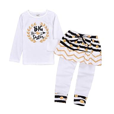 6946095282a1 Kidsa 2-7T Little Girl Big Sister Long Sleeve T-shirt + Skirts Leggings