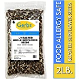Unsalted Roasted Sunflower Seeds - 2 LBS by Gerbs - Top 14 Food Allergen Free & NON GMO - Vegan, Keto Safe & Kosher - In Shell Grown in USA