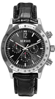 Versus by Versace Mens SGC050012 Cosmopolitan Round Stainless Steel Black Dial Chronograph Watch
