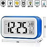 Digital Alarm Clock, Silent Alarm Clock Light Sensor Touch sensor Alarm Clock Battery Operated with Large Display with Date Calendar Temperature Display for Kids, Teens, Children - Dark Blue