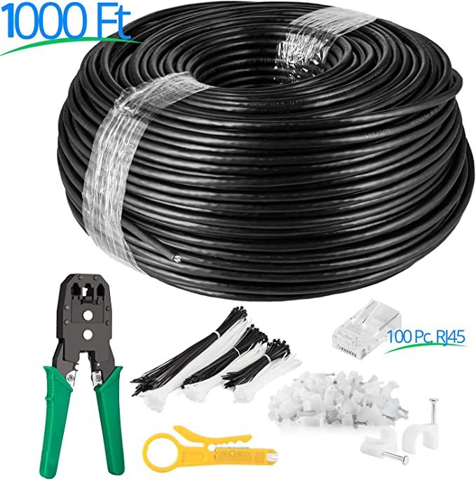 200FT Outdoor UbiGear 200 FT Heavy Duty CAT6 Waterproof Outdoor Direct Burial UV Resistant Ethernet LAN Network Patch Cable Oxygen-Free Copper Construction RJ45 Cord