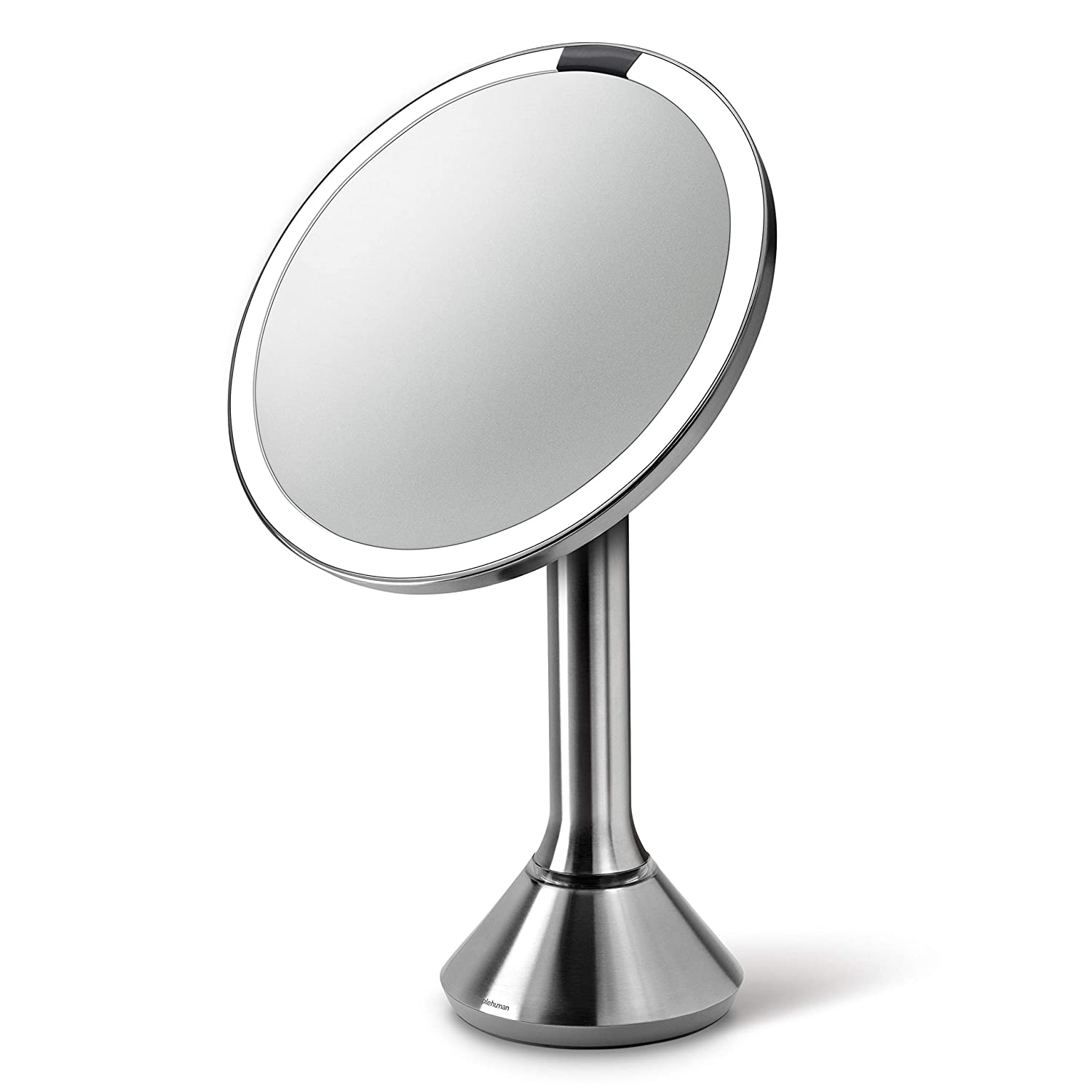 Best Vanity Mirror >> Simplehuman Sensor Lighted Makeup Vanity Mirror 8 Round 5x Magnification Stainless Steel Rechargeable And Cordless