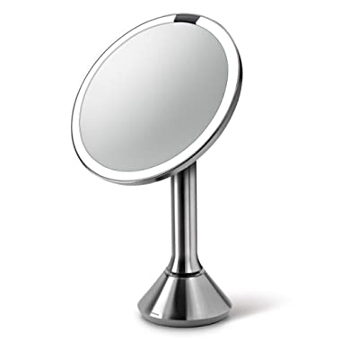 simplehuman Sensor Lighted Makeup Vanity Mirror 8  Round, 5X Magnification, Stainless Steel, Rechargeable and Cordless