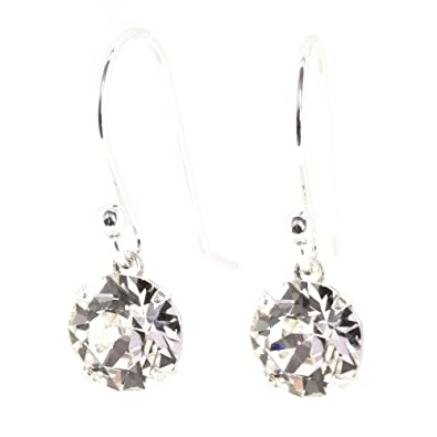 pewterhooter 925 Sterling Silver fishhook earrings handmade with sparkling Diamond White crystal from SWAROVSKI® for Women j8vCbz