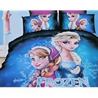 Glace Cotton Cartoon Print Comforter Set for Single Bed (1 Single bedsheet,1 Pillow Cover,1 Comforter)-Frozen,Blue