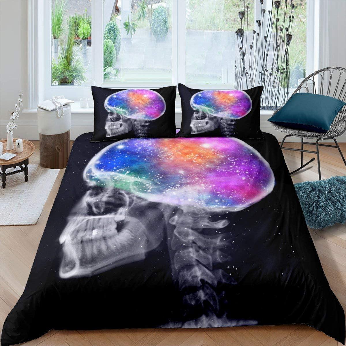 Erosebridal Sugar Skull Bedding Set, Rainbow Head Smoke Starlight Mystical Gothic Skeleton Comforter Cover, Decorative 2 Piece Duvet Cover with 1 Pillow Sham, Twin Size, Green Blue Purple Orange