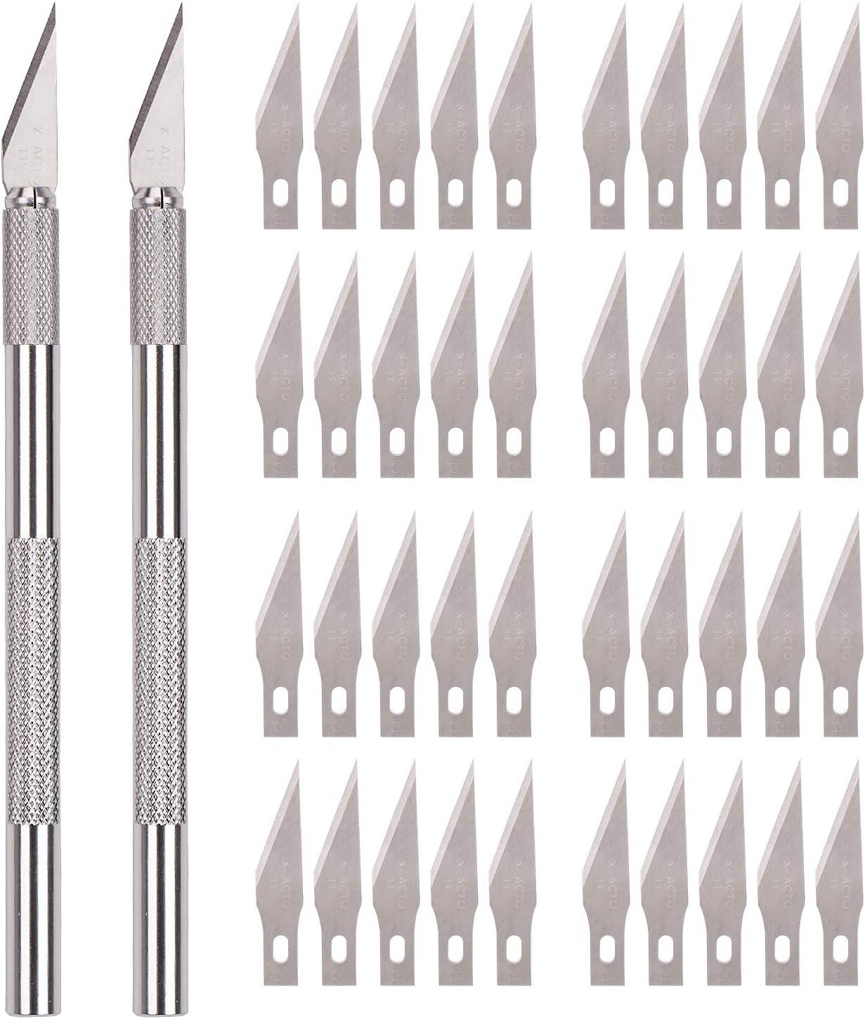 Savita - Juego de cuchillos de metal macizo para manualidades y manualidades, incluye 2 asas y 40 cuchillas de repuesto