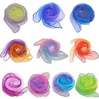 Chingde Pañuelo de Baile, 10 Piezas Bufanda de Seda Colorida Bufandas de Movimiento Pañuelos de Malabares para el…