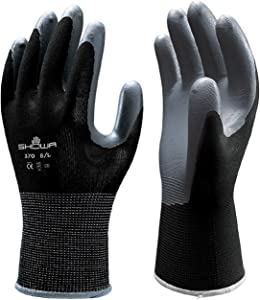 24 Pair - Showa Atlas 370 Black Work Gloves Size Medium 370BM-07 (2 Dozen)