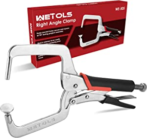 WETOLS Right Angle Clamp 4 inch for Woodworking and Pocket Hole Joinery