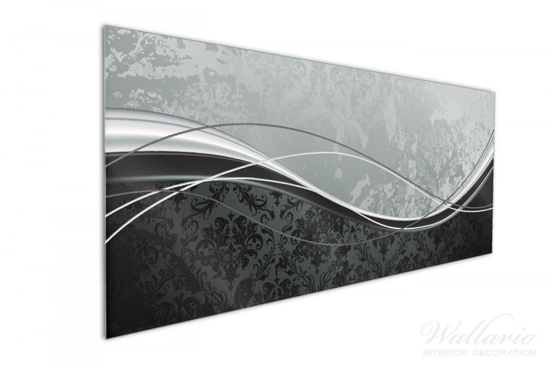 Wallario Küchen Rückwand | Glas Mit Motiv Grau Schwarze Schnörkelei Mit  Wellen In Premium Qualität: Brillante Farben, Ohne Aufhängung | Geeignet  Zum ...