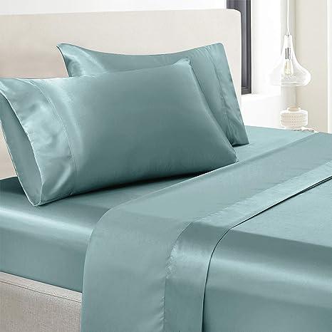 vonty satin sheets full size silky soft satin bed sheets aqua satin sheet set 1 deep pocket fitted sheet 1 flat sheet 2 pillowcases