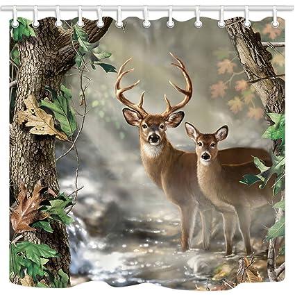 TANSTAN Deer DecorWaterproof Fabric Elk Foggy Forest Shower Curtain Hooks Included 71X71