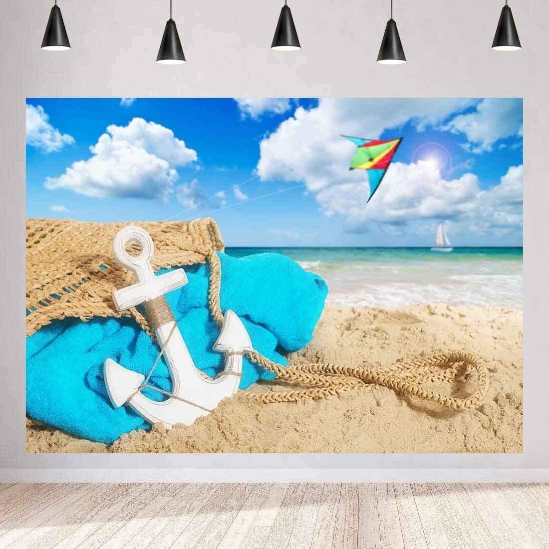 Summer Beach Backdrop Seaside Scenery Photography Background MEETSIOY 7x5ft Themed Party Photo Booth YouTube Backdrop MT379