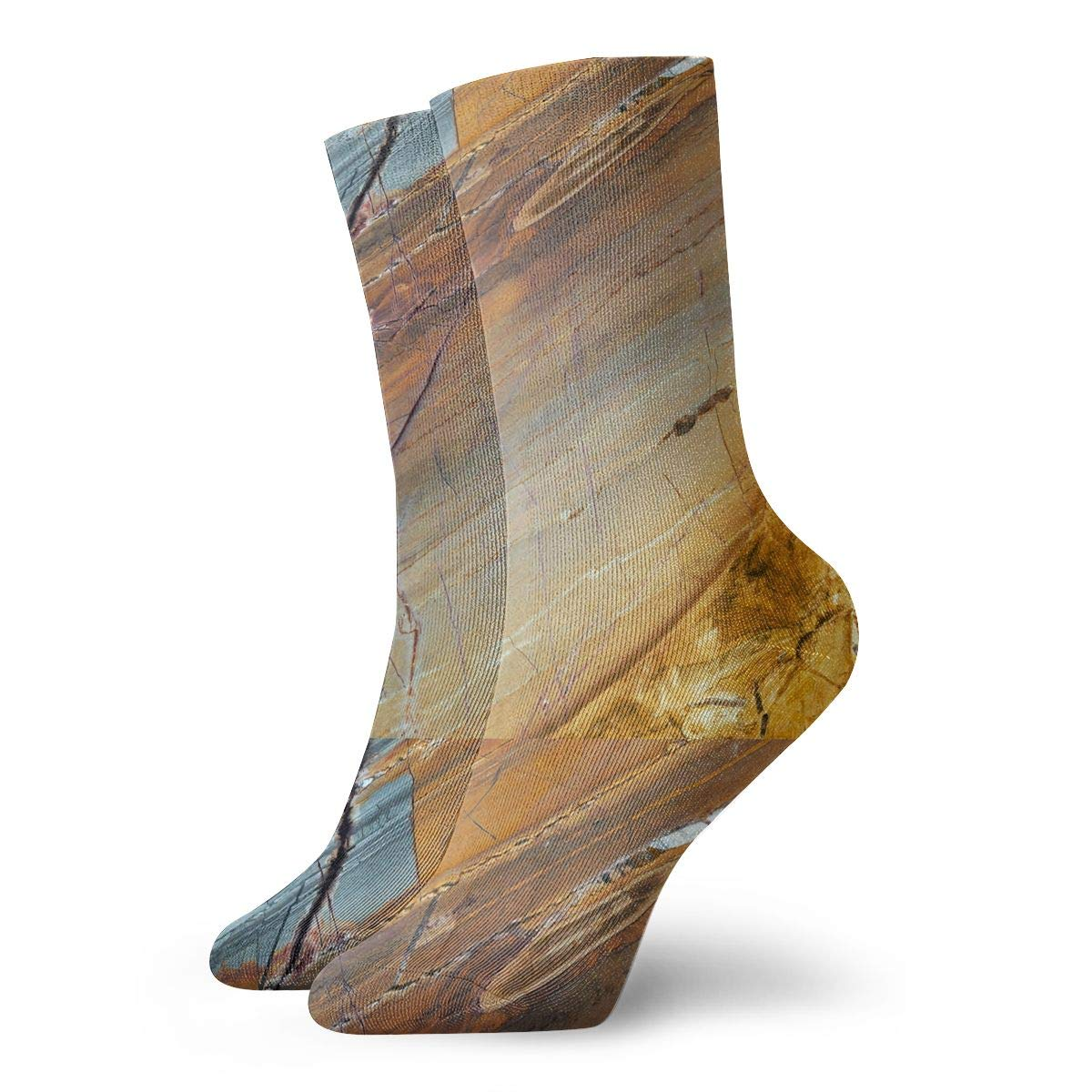 Women Men Marble Pattern Athletic Ankle Socks