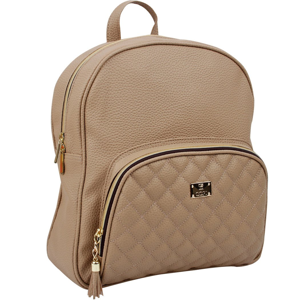 Copi Women's bags Lovely, feminine Round Shape Design Quilted Point Small Backpacks Beige