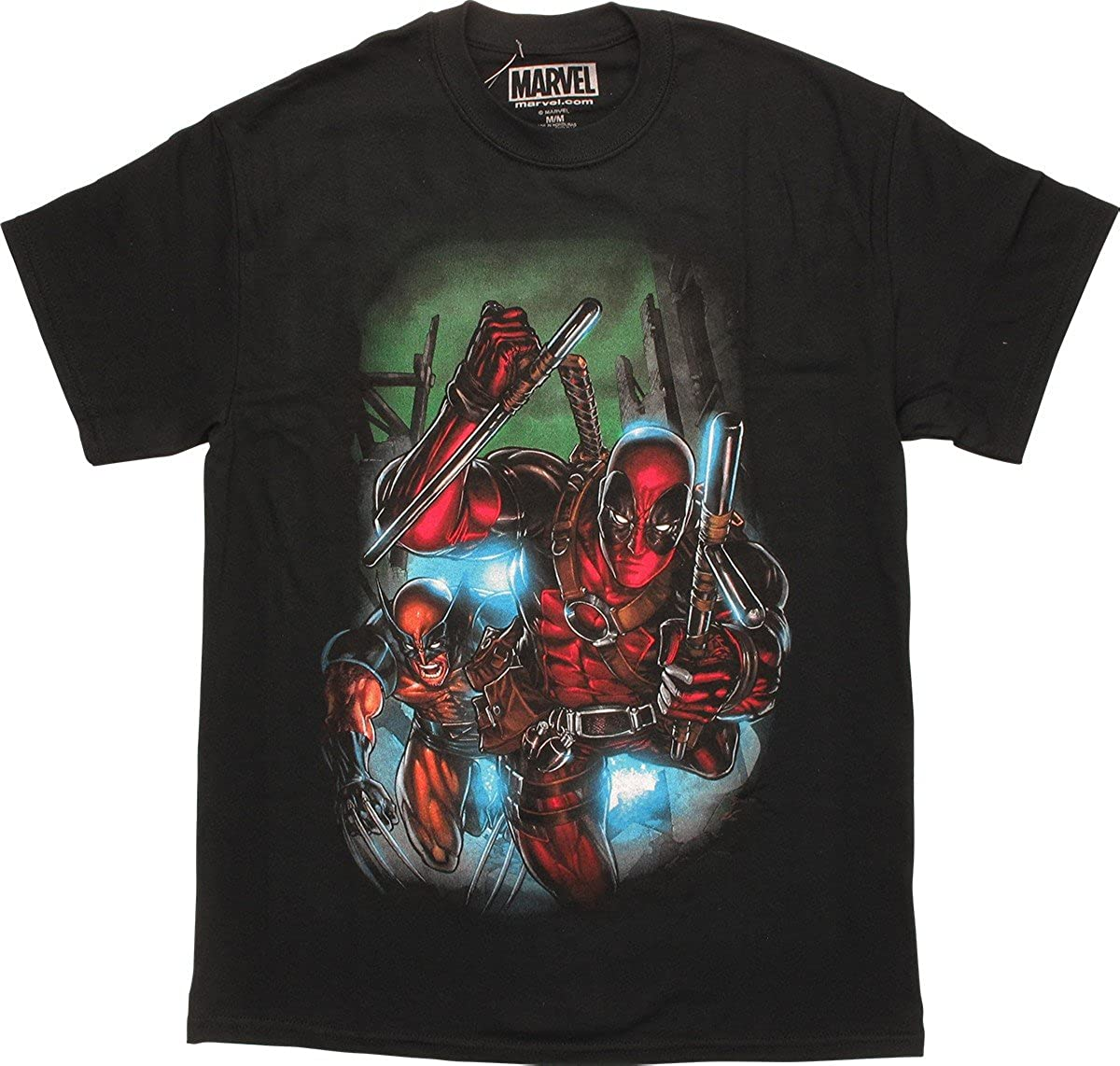 Deadpool Wolverine And Deadpool Action Running Out Tshirt