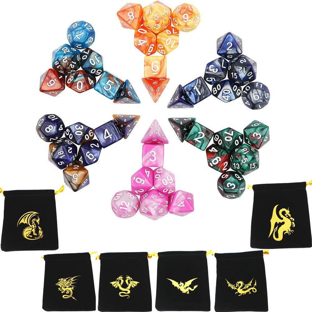 Dés Jeux De Role Donjons et Dragons Double-couleur Polyédrique Jeu de Dés(7 sets 42 pieces) Temon