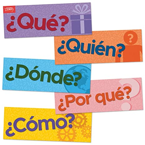 Amazon com : Question Words Spanish Signs - Set of 10 : Office Products