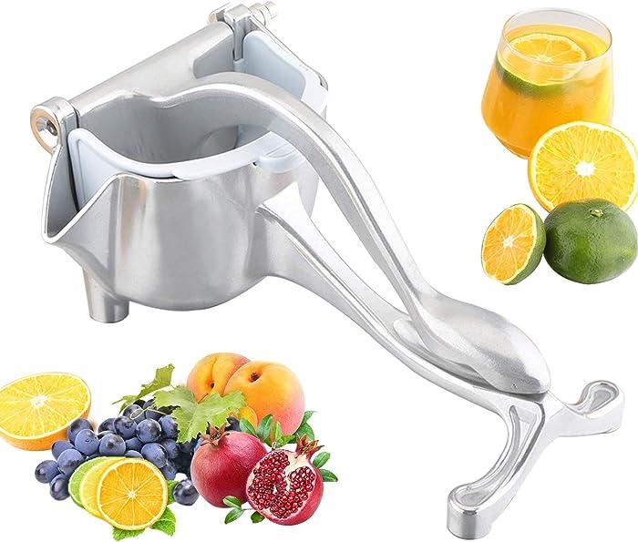 JOBO Manual Fruit Juicer Squeezer Heavy Duty Lemon Lime Citrus Hand Press Bar Tool Juice Squeezer (Silver)