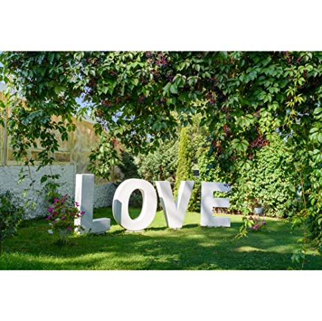 Aofoto 10x7ft Garden Outdoors Wedding Decorations Backdrop Big White Letters Love Sign On Green Grass Valentines Day Romantic Holiday Wedding