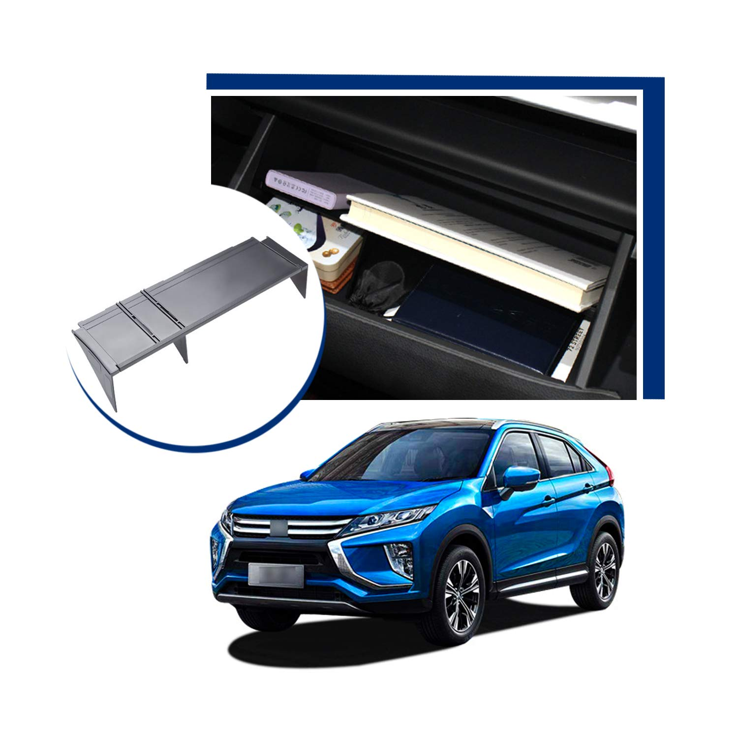 LFOTPP Center Console Organizer for Mitsubishi Edipse Cross 2018-2019,Car Accessories Armrest Box Internal Storage Insert Divider Glove Box Organizer Partition